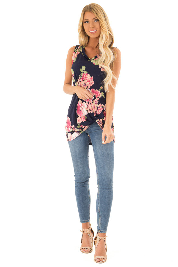 Navy Floral Print Front Twist Sleeveless Top front full body