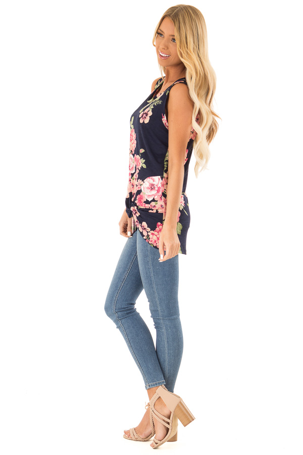Navy Floral Print Front Twist Sleeveless Top side full body