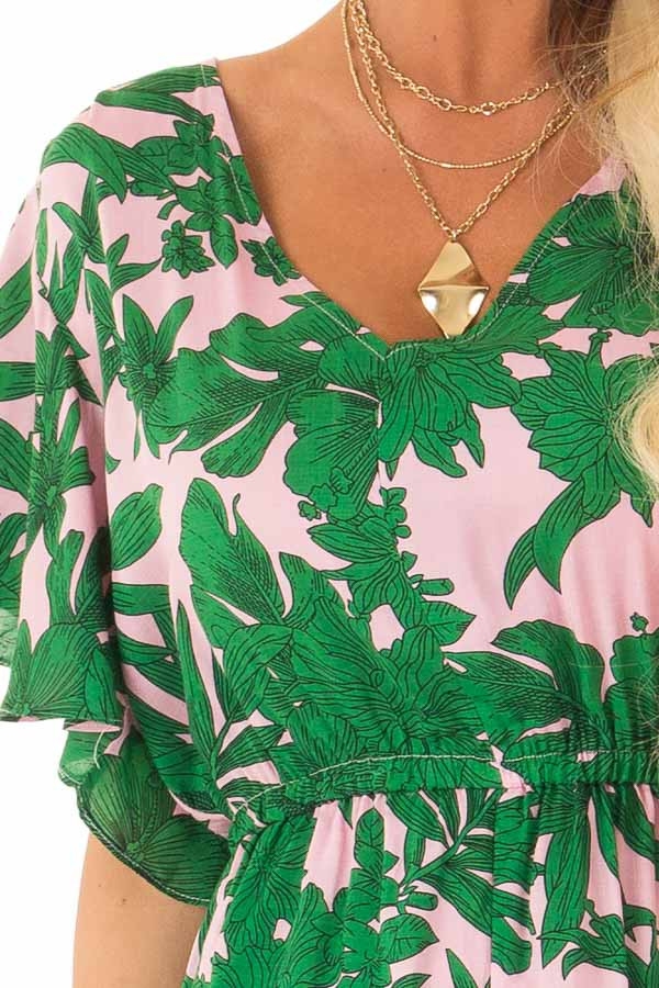 Baby Pink Tropical Print Short Ruffle Sleeve Romper detail