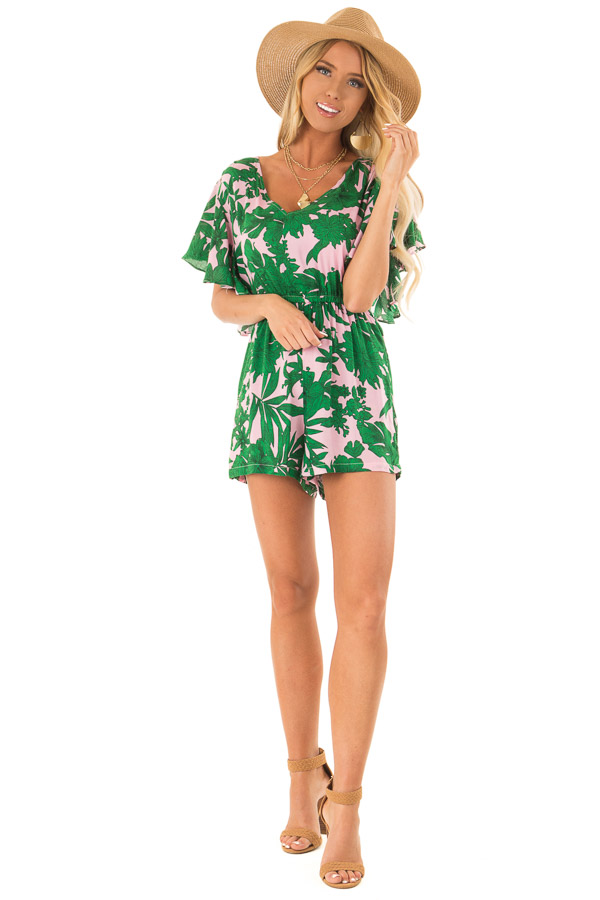 Baby Pink Tropical Print Short Ruffle Sleeve Romper front full body