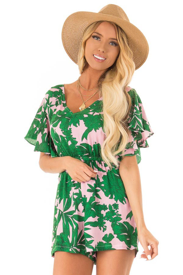 Baby Pink Tropical Print Short Ruffle Sleeve Romper front close up
