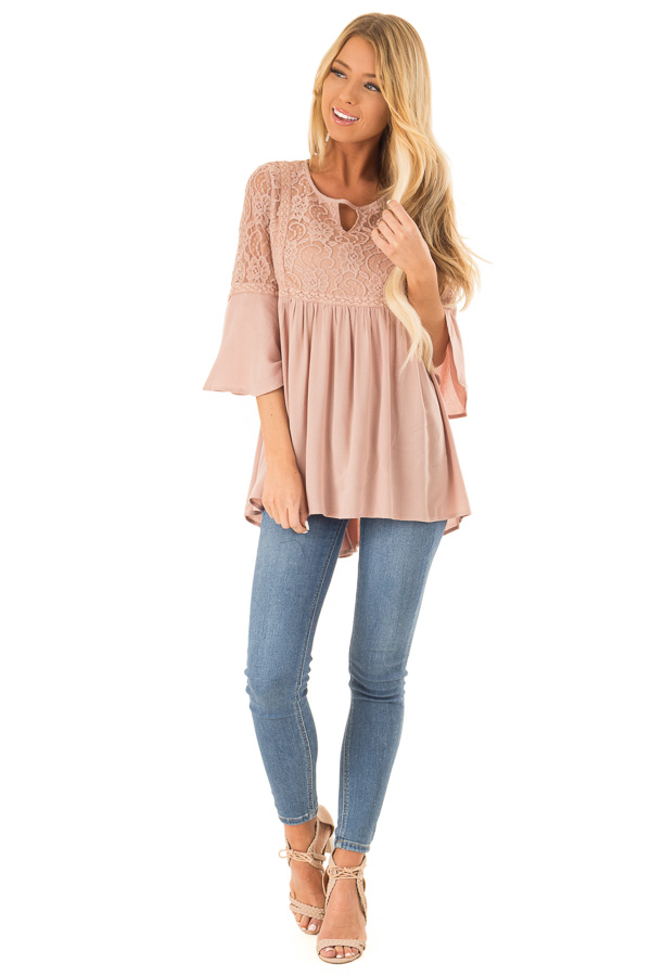 Dusty Blush 3/4 Ruffle Sleeve Top with Lace Detail front full body