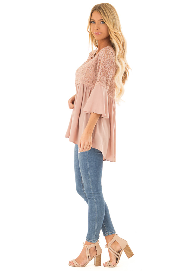 Dusty Blush 3/4 Ruffle Sleeve Top with Lace Detail side full body