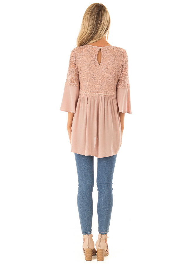 Dusty Blush 3/4 Ruffle Sleeve Top with Lace Detail back full body