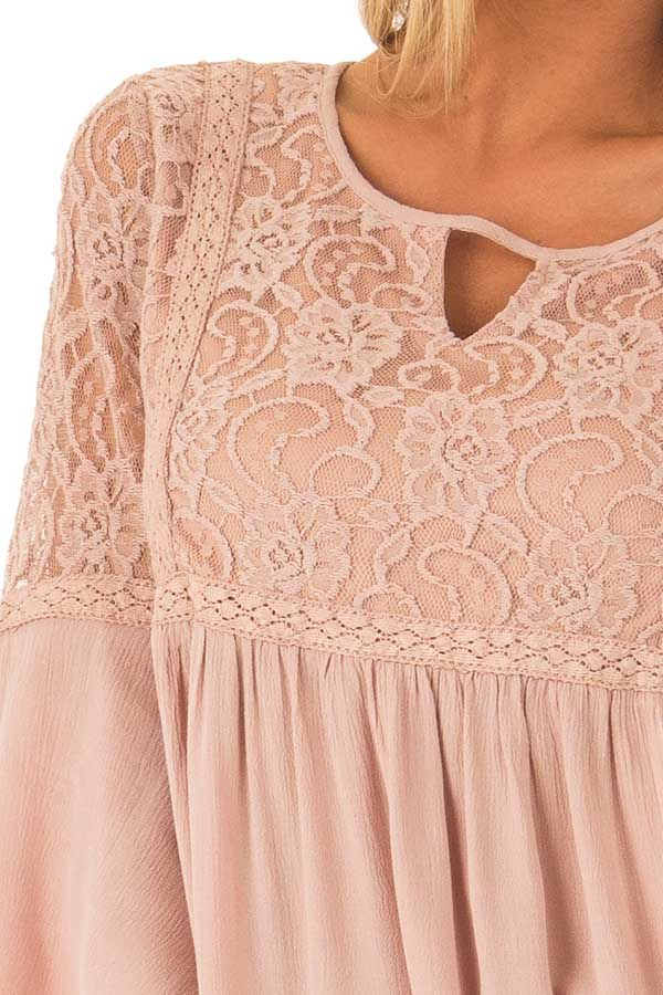 Dusty Blush 3/4 Ruffle Sleeve Top with Lace Detail detail