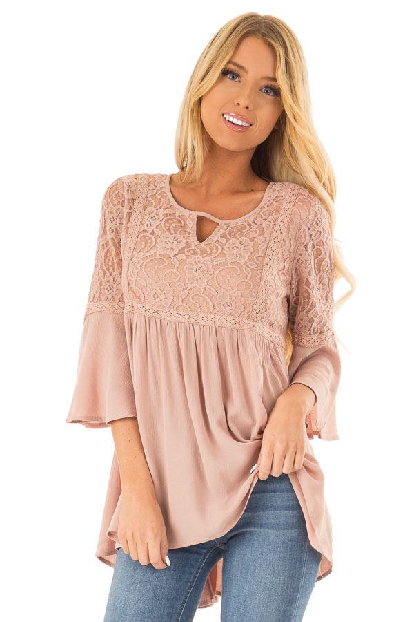 Dusty Blush 3/4 Ruffle Sleeve Top with Lace Detail front close up