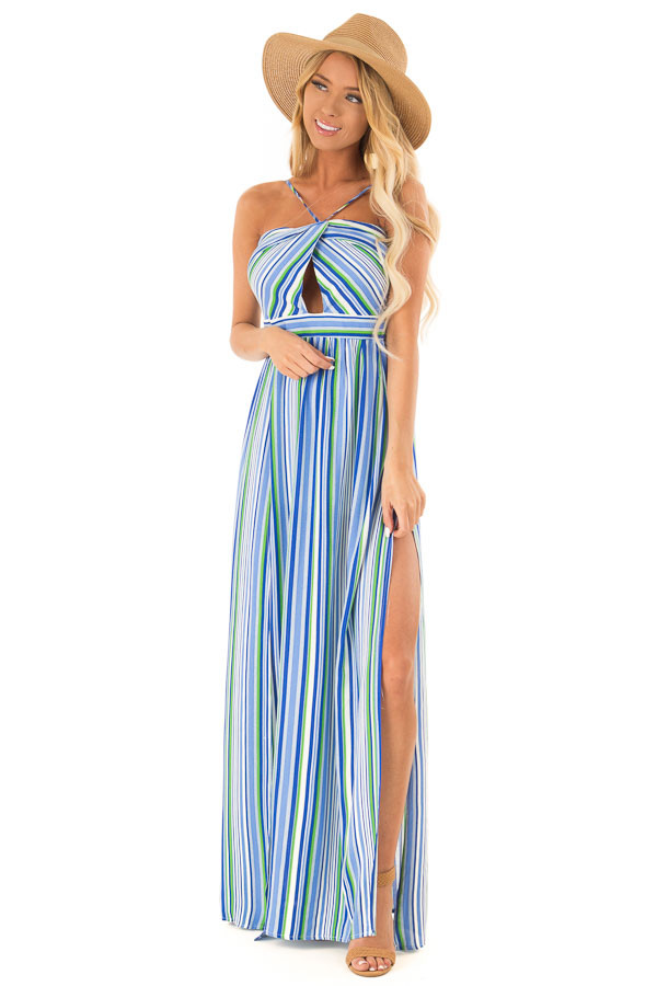 Azure Striped Strappy Backless Maxi Dress with Chest Cutout front full body