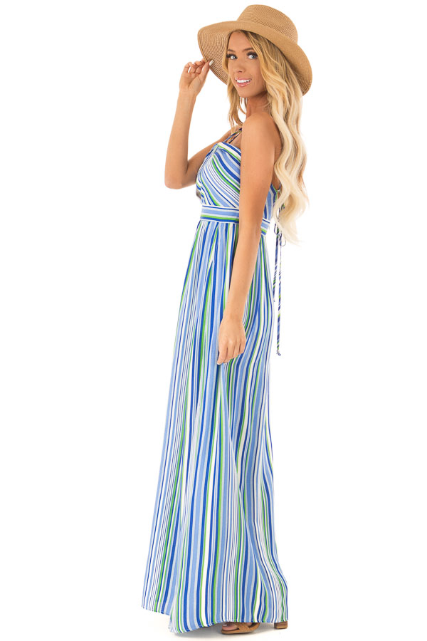Azure Striped Strappy Backless Maxi Dress with Chest Cutout side full body