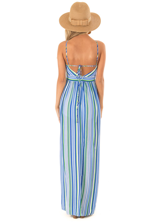 Azure Striped Strappy Backless Maxi Dress with Chest Cutout back full body