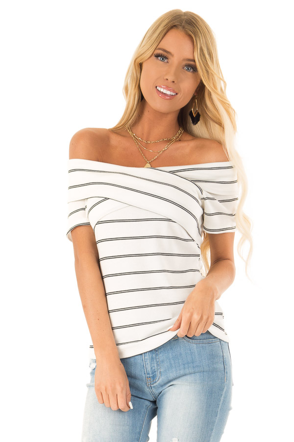 Ivory and Ebony Striped Off the Shoulder Crossover Top front close up