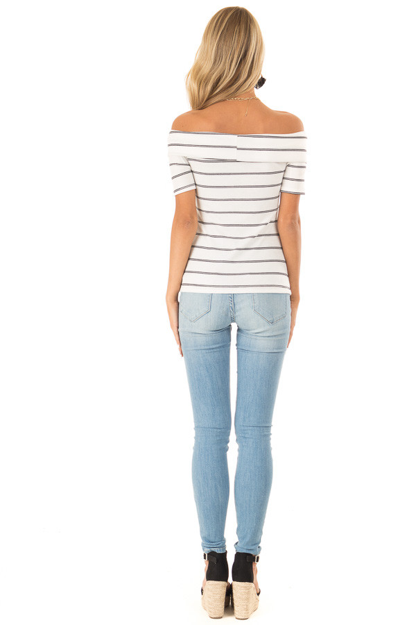 Ivory and Ebony Striped Off the Shoulder Crossover Top back full body