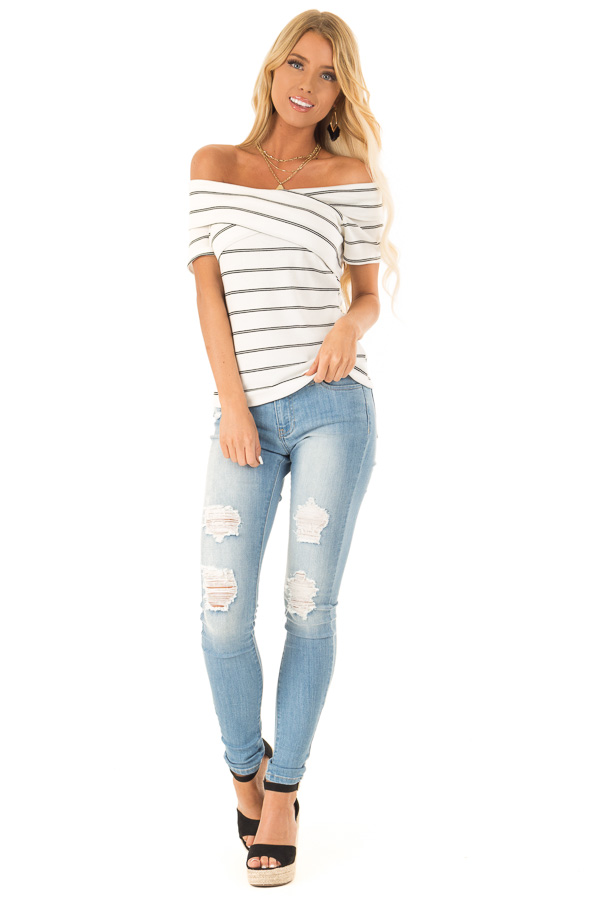 Ivory and Ebony Striped Off the Shoulder Crossover Top front full body