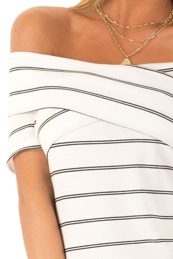 Ivory and Ebony Striped Off the Shoulder Crossover Top detail