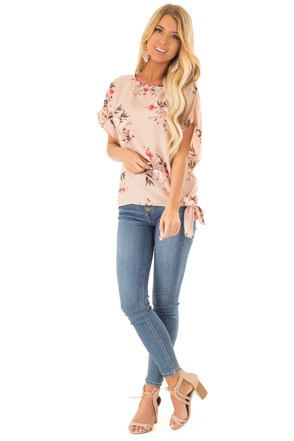 Blush Floral Print Top with Side Tie front full body