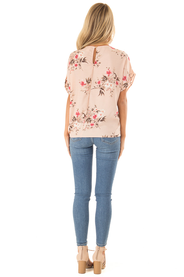 Blush Floral Print Top with Side Tie back full body