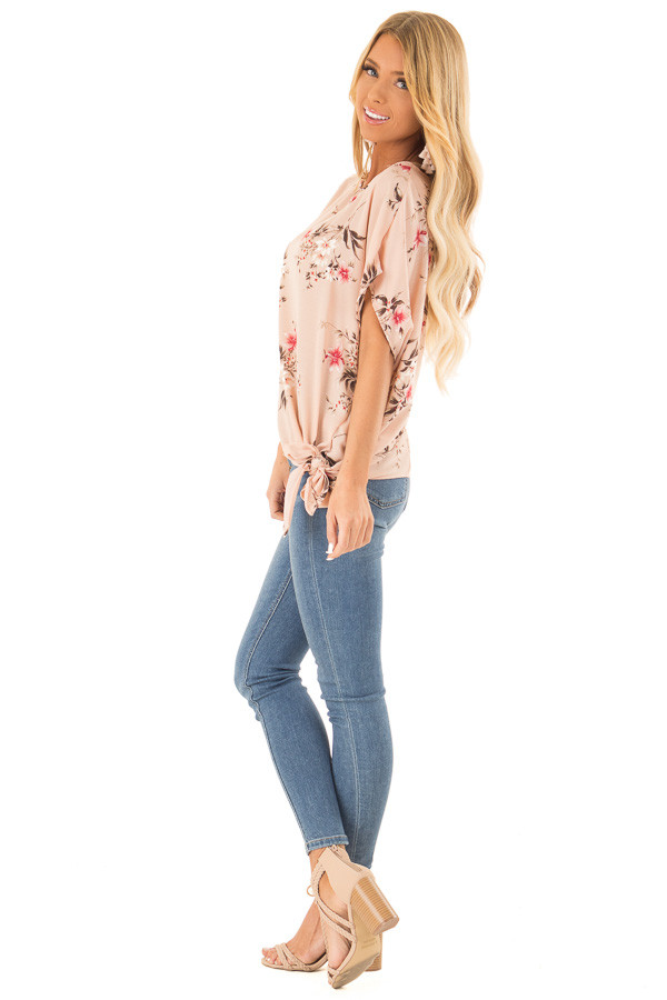 Blush Floral Print Top with Side Tie side full body