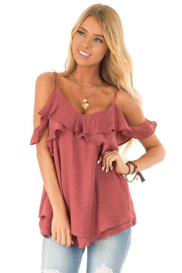 90983e0aa8896 Rust Off the Shoulder Top with Ruffle Details - Lime Lush Boutique