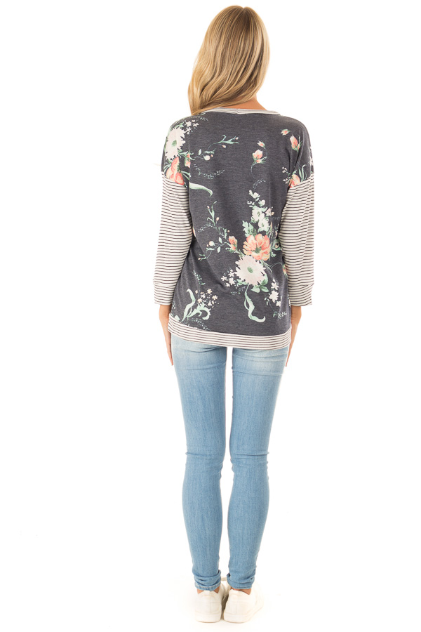 Faded Navy Floral Top with 3/4 Striped Contrast Sleeves back full body