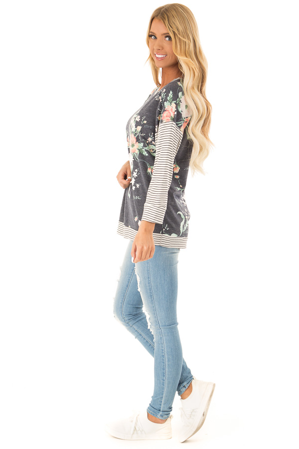 Faded Navy Floral Top with 3/4 Striped Contrast Sleeves side full body