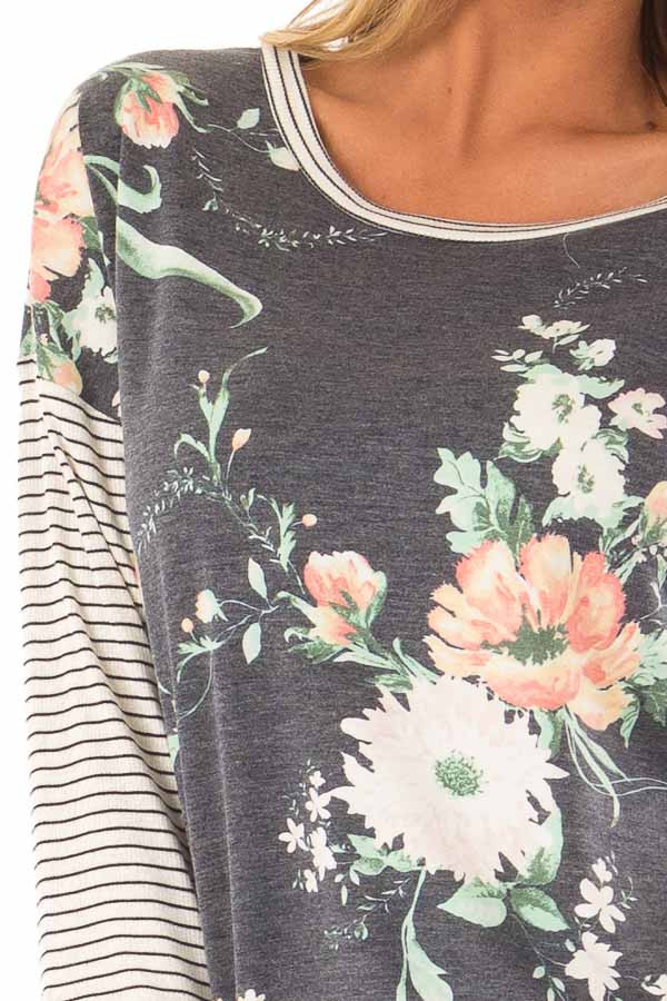 Faded Navy Floral Top with 3/4 Striped Contrast Sleeves detail
