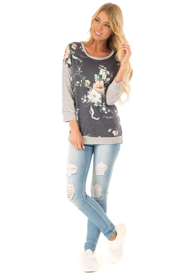 Faded Navy Floral Top with 3/4 Striped Contrast Sleeves front full body