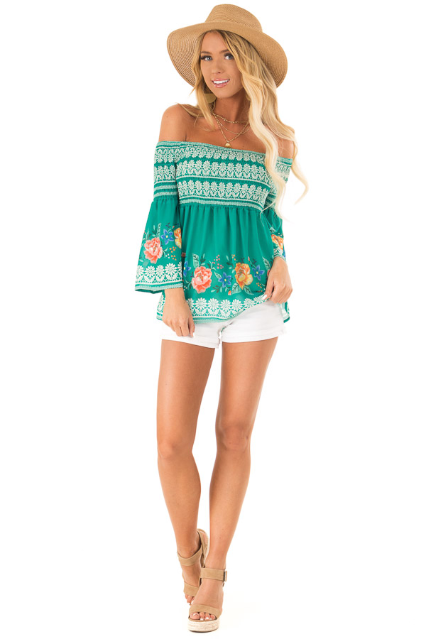 Grass Green Floral Print Off Shoulder Smocking Peasant Top front full body