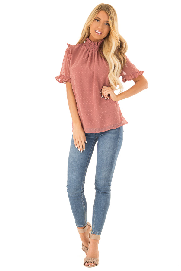 Dusty Rose Swiss Dot Mock Neck Blouse with Ruffle Sleeves front full body