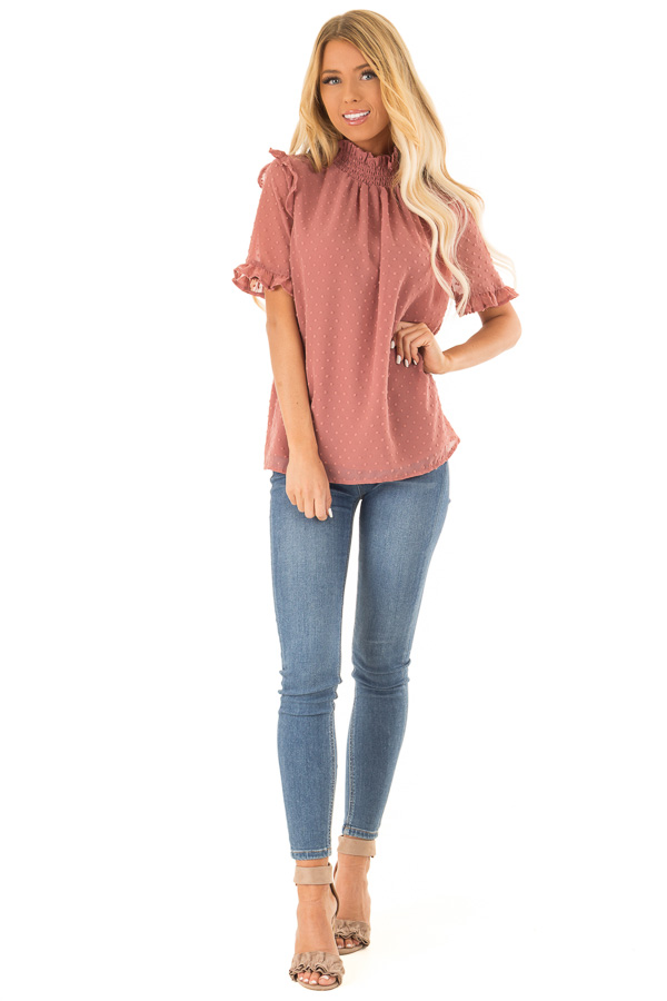 0765de75bf4ad ... Dusty Rose Swiss Dot Mock Neck Blouse with Ruffle Sleeves front full  body ...