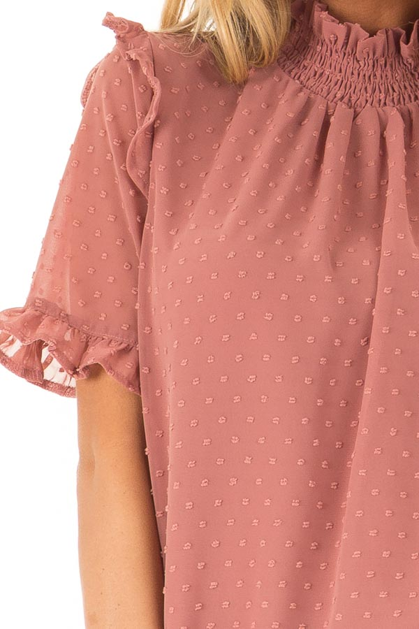 Dusty Rose Swiss Dot Mock Neck Blouse with Ruffle Sleeves detail