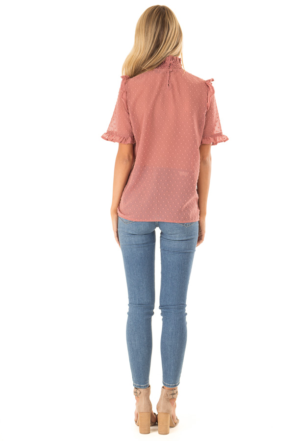 Dusty Rose Swiss Dot Mock Neck Blouse with Ruffle Sleeves back full body