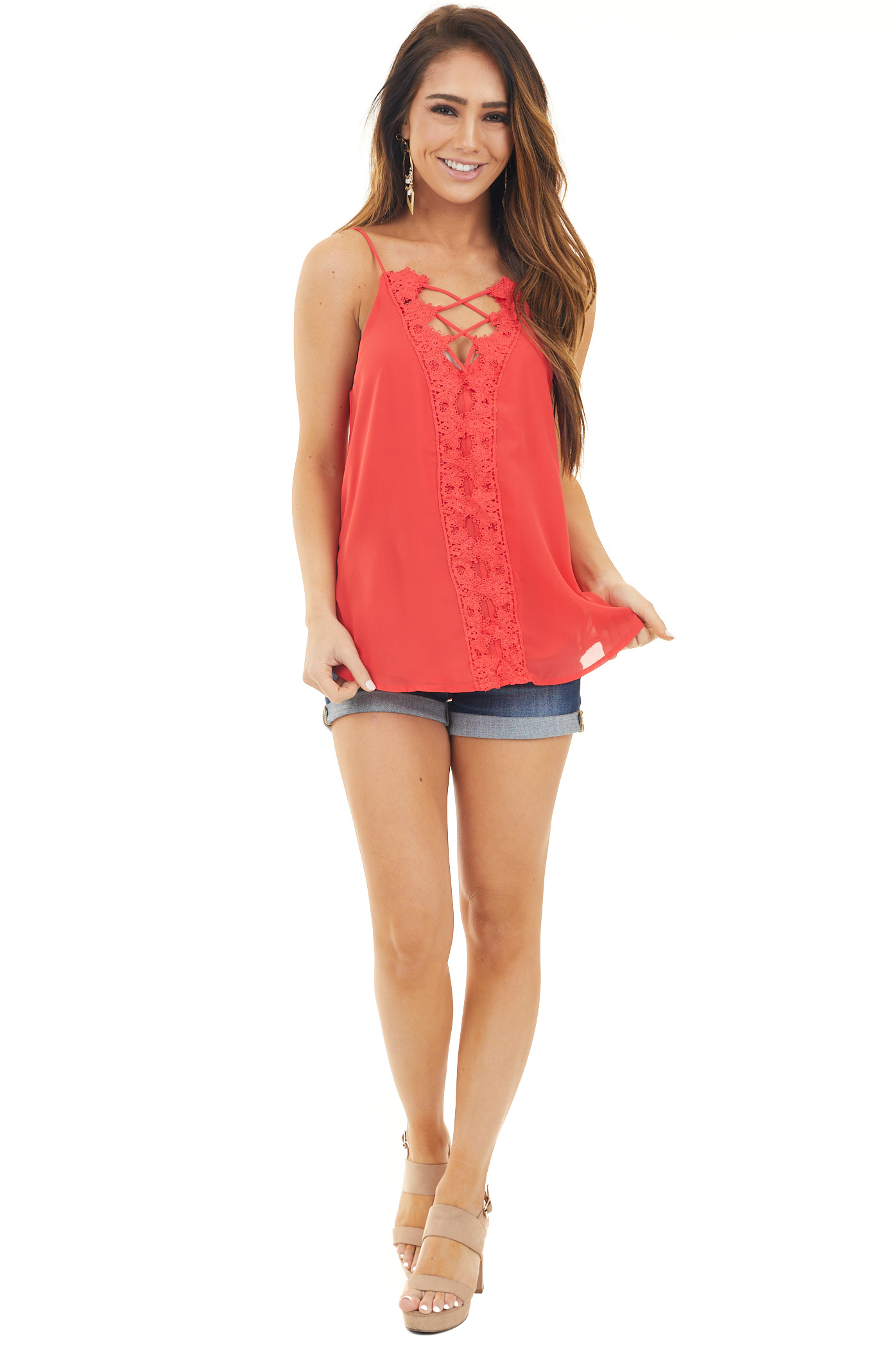 Tomato Red Plunging V Neck Top with Scalloped Lace Detail