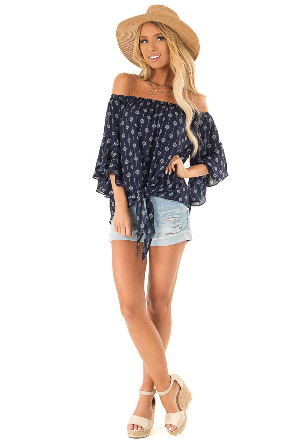 Navy Medallion Print Off the Shoulder Top with Tie Detail front full body
