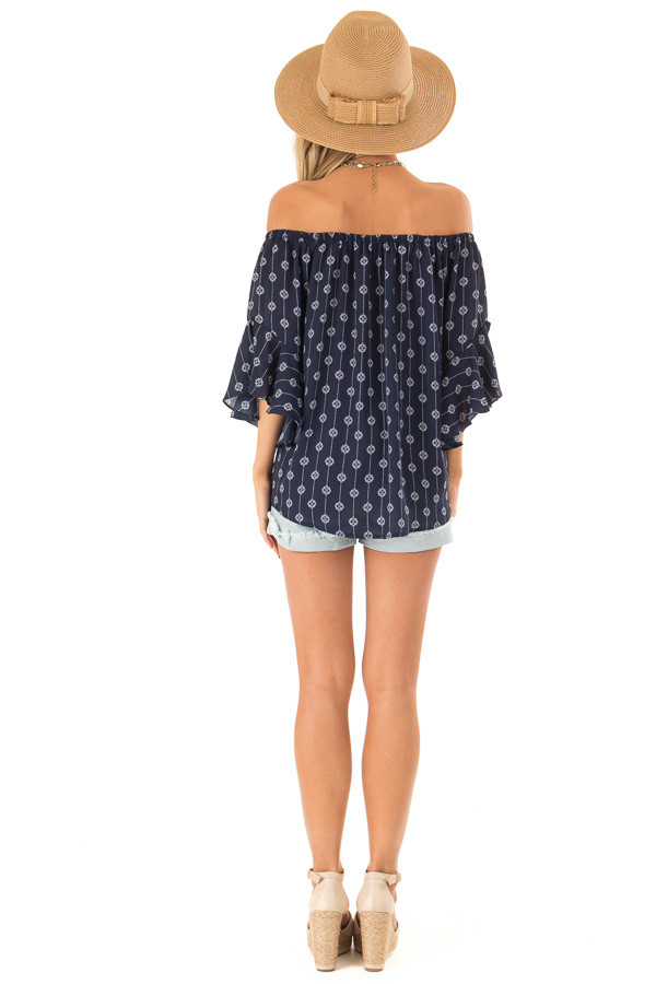 Navy Medallion Print Off the Shoulder Top with Tie Detail back full body
