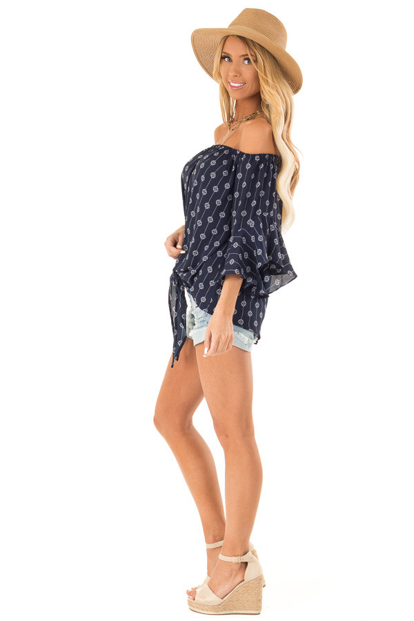 Navy Medallion Print Off the Shoulder Top with Tie Detail side full body