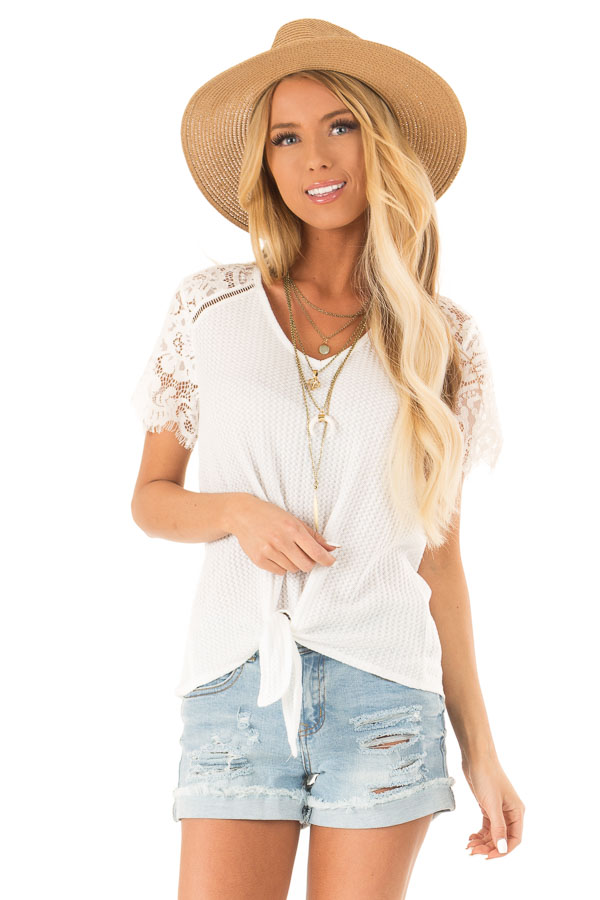 Daisy White Waffle Knit Top with Short Lace Sleeves front close up