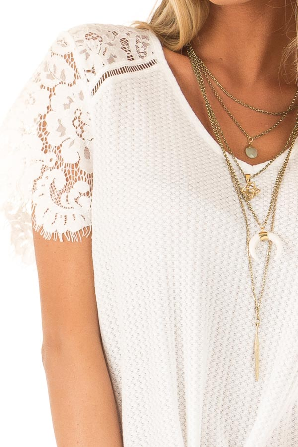 Daisy White Waffle Knit Top with Short Lace Sleeves detail