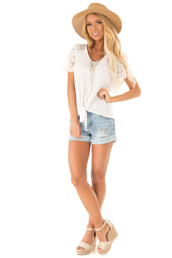 Daisy White Waffle Knit Top with Short Lace Sleeves front full body