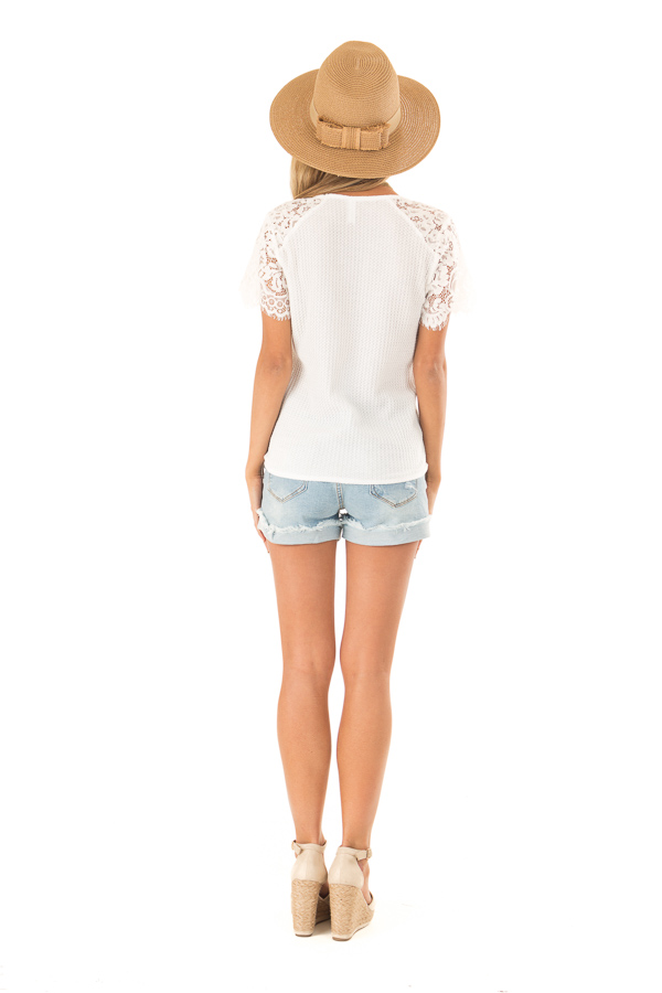 Daisy White Waffle Knit Top with Short Lace Sleeves back full body