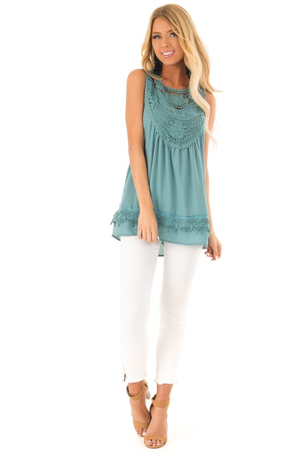 Dark Teal Chiffon Blouse with Detailed Crochet Neckline front full body