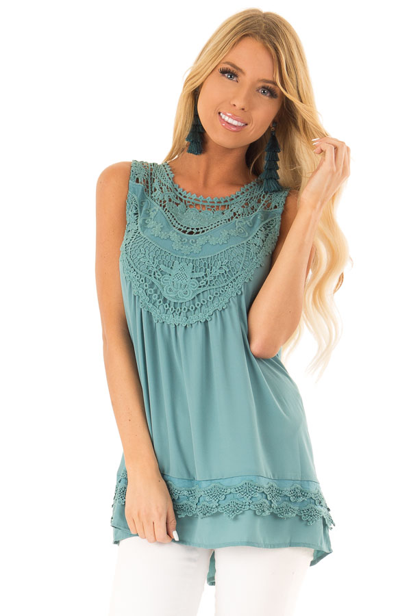 Dark Teal Chiffon Blouse with Detailed Crochet Neckline front close up