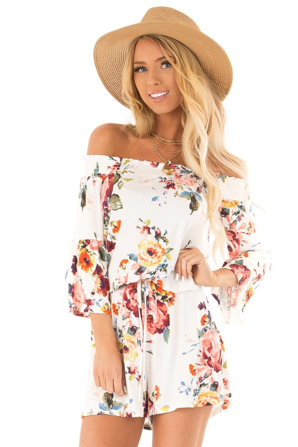 Daisy White Off Shoulder Romper with Floral Detail front close up