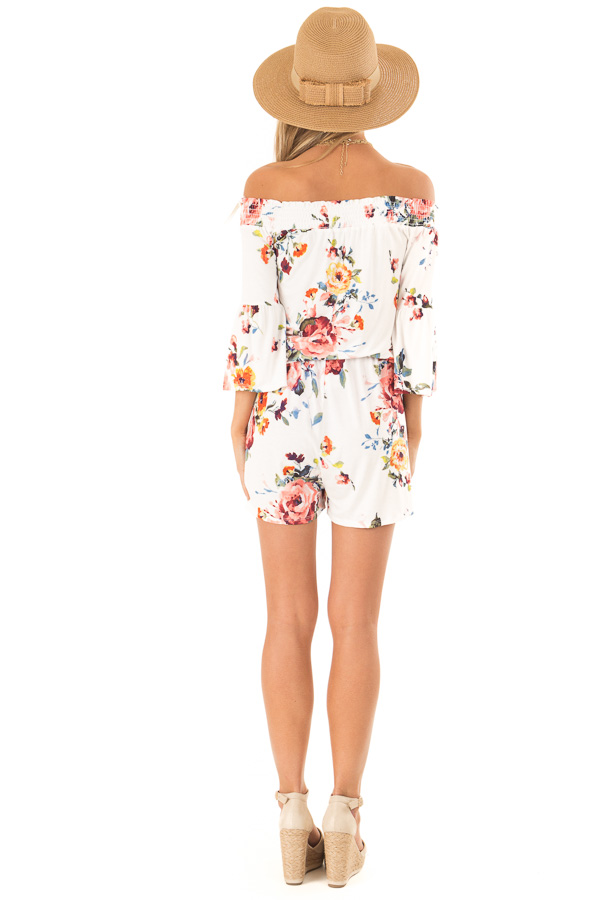 Daisy White Off Shoulder Romper with Floral Detail back full body