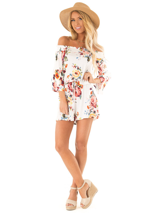 Daisy White Off Shoulder Romper with Floral Detail front full body