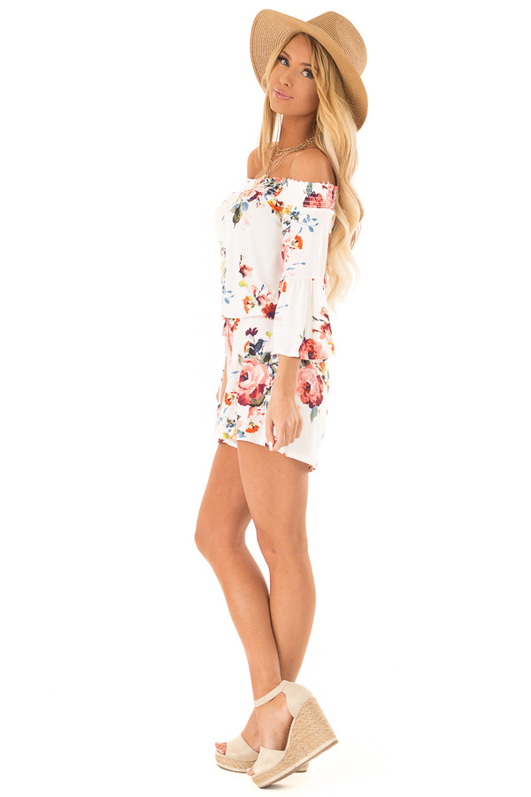 Daisy White Off Shoulder Romper with Floral Detail side full body