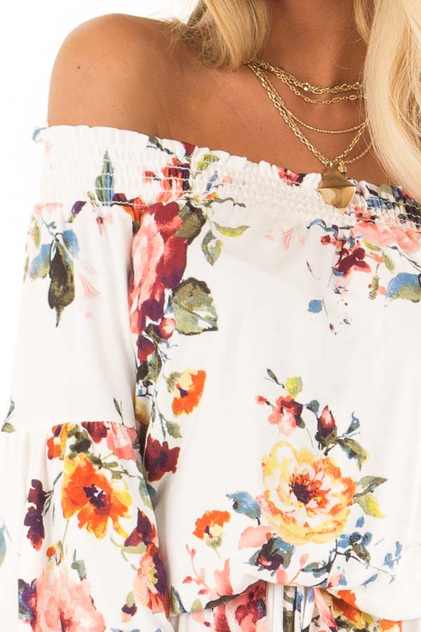 Daisy White Off Shoulder Romper with Floral Detail detail
