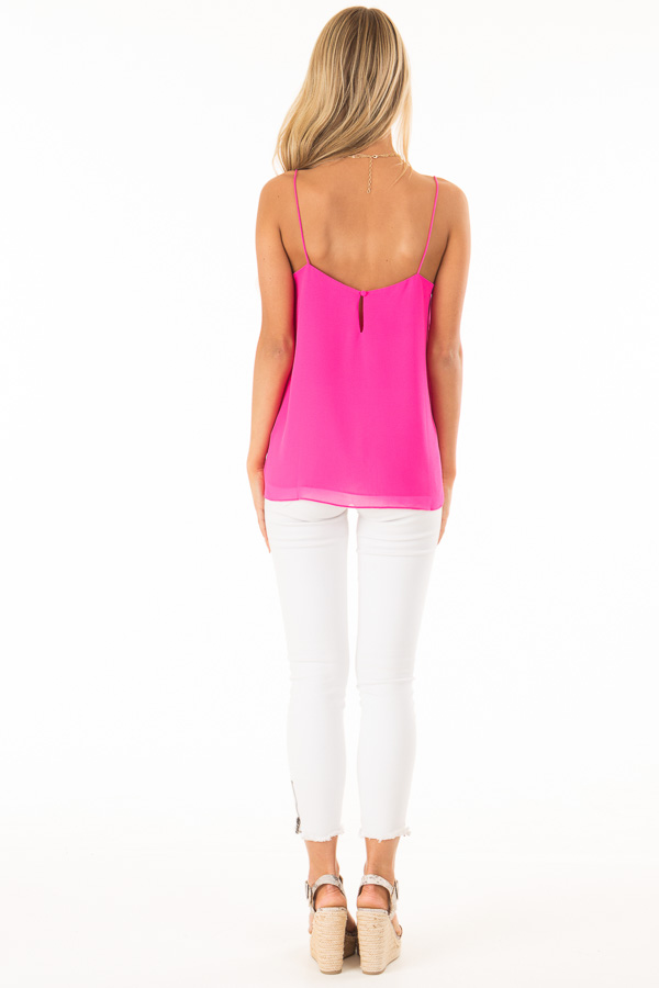 Hot Pink V Neck Tank Top with Ruffle Details back full body