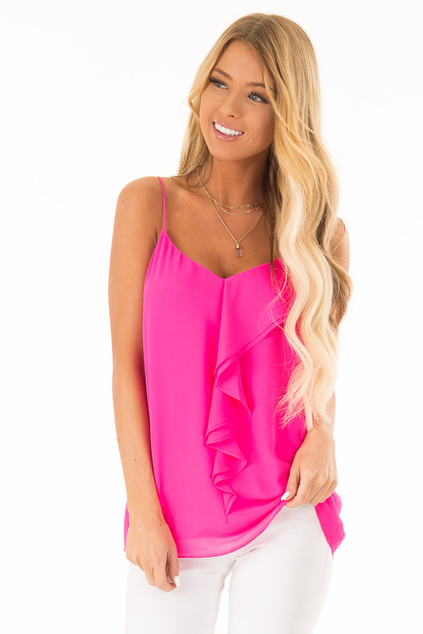 Hot Pink V Neck Tank Top with Ruffle Details front close up