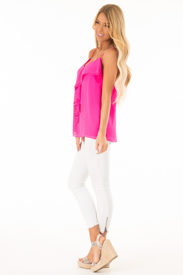 Hot Pink V Neck Tank Top with Ruffle Details side full body
