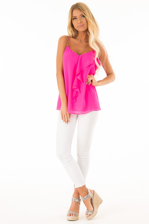 Hot Pink V Neck Tank Top with Ruffle Details front full body