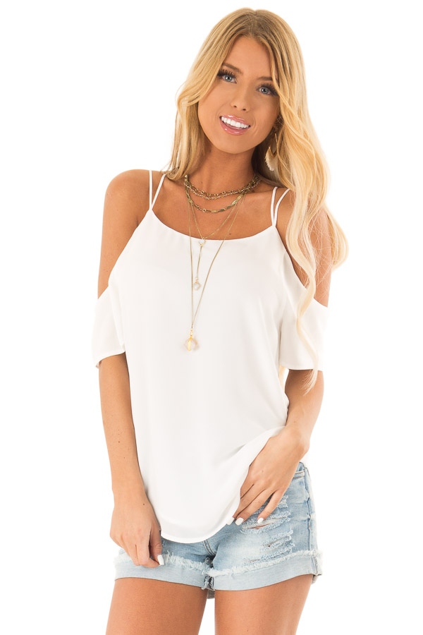 Snow White Flowy Cold Shoulder Super Strappy Top front close up